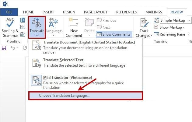 Cách dịch văn bản trực tiếp trong Word