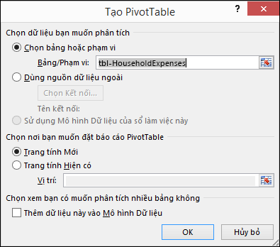 Hộp thoại Tạo PivotTable trong Excel